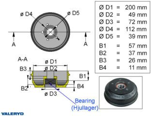 Brake drum 200x50 5x112 BPW S2005-7 1500 kg Compact wheel bearing